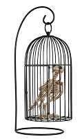 Crazy Bonez Skeleton Crow in Cage Prop