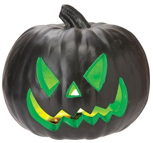Light Up Green and Black Pumpkin
