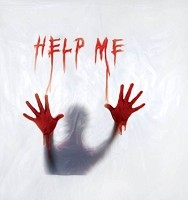 Creepy 'Help Me' Shower Curtain
