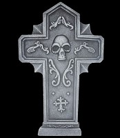 "24"" Gothic Skull Cross Tombstone"