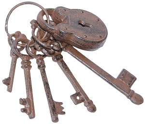 Cast Iron Skeleton Keys with Lock