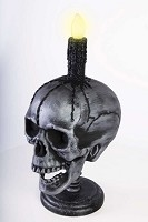 Skull Head with Light-up Candle Prop
