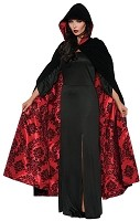 Black and Red Velvet and Satin Cape