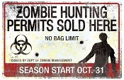 Metal Zombie Hunting Permit Sign