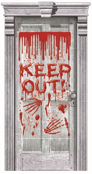 Door Gore Dripping Blood Keep Out Door Cover