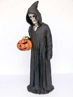 Life Size 5.5 Ft Fiberglass Soul Taker Grim Reaper with Pumpkin