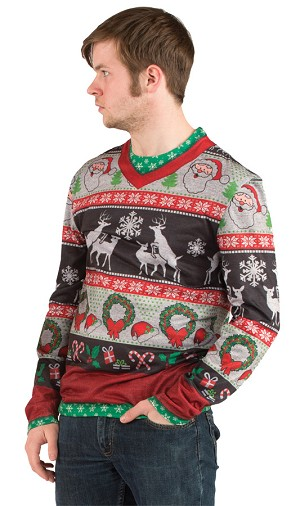 "Ugly Christmas Sweater ""Frisky Deer"" Large"