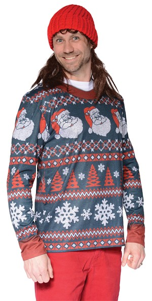 "Ugly Christmas Sweater ""Santa Stripe""- Medium"