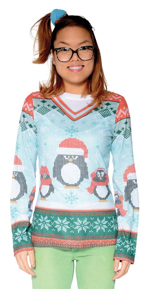 "Ladies Ugly Christmas ""Penguin"" Sweater- Large"