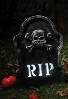 Strobing Skull and Crossbones Tombstone