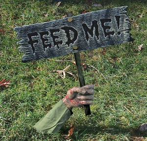 """Feed Me"" Lawn Sign Prop"
