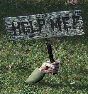 """Help Me"" Lawn Sign Prop"