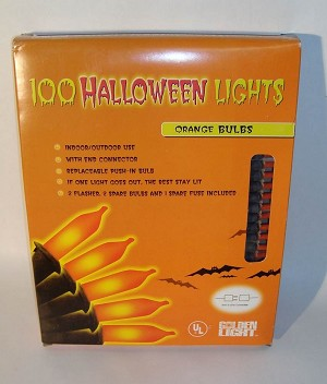 100 Count Halloween Lights Orange Bulbs