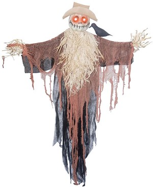 Hanging Pumpkin Scarecrow with Crow