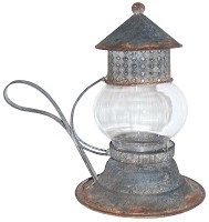 Short Glass Lantern with Handle
