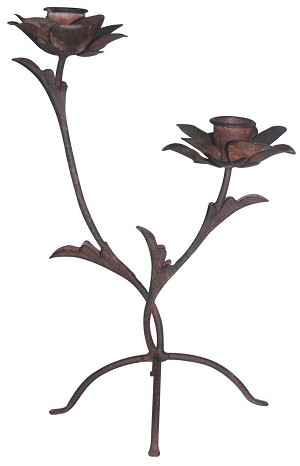 Two Rose Metal Candle Holder