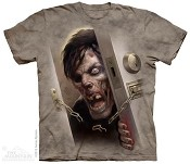 Zombie At the Door T-Shirt with Halloween Asylum Logo