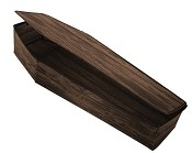 Instant Coffin Prop Wooden Look