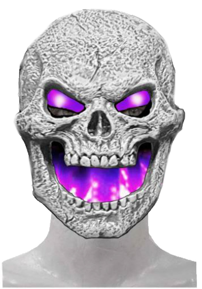 Flame Fiend Flaming Skull Mask- Purple