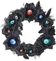 15 Inch Lighted Black Halloween Wreath with Eyeballs