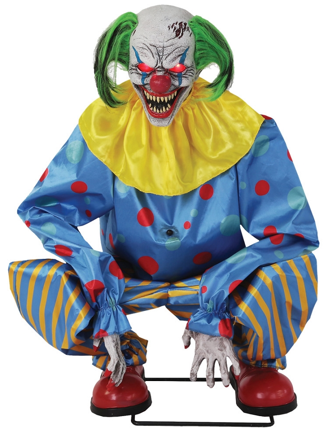 Crouching Clown Blue Animated Prop