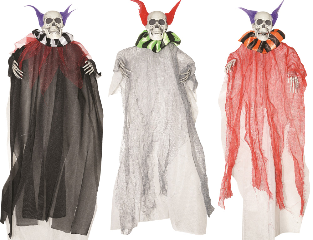 3- 18 Inch Hanging Clown Skeletons
