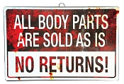 All Body Parts Are Sold As Is Sign
