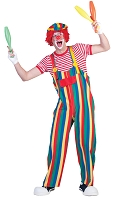 Adult Striped Clown Overalls