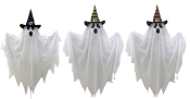 3-Hanging 28 Inch Ghosts In Witch Hats