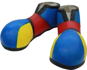 Blue, Yellow, and Red Clown Shoe Covers