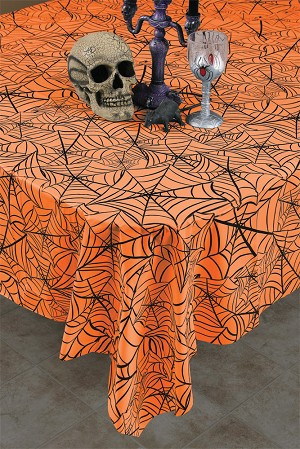 Plastic Halloween Cobweb Tablecloth