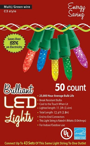 LED C3 Style Multicolor Lights- 50ct