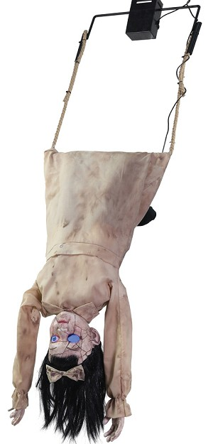 Creepy Doll Swinging Head First Animated Prop