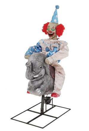 Rocking Clown On Elephant Animated Prop