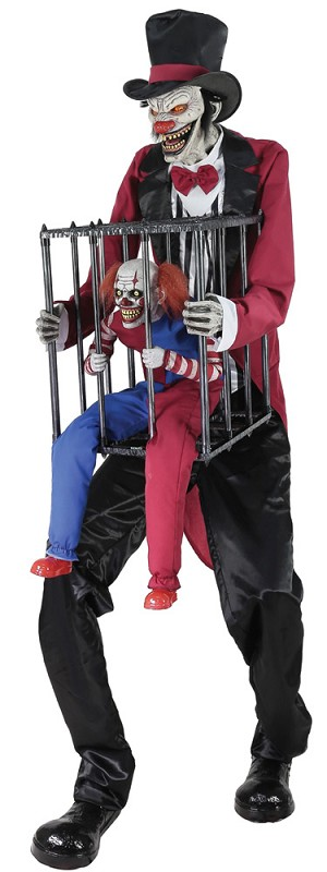 Rotten Ringmaster With Clown In Cage Animated Prop
