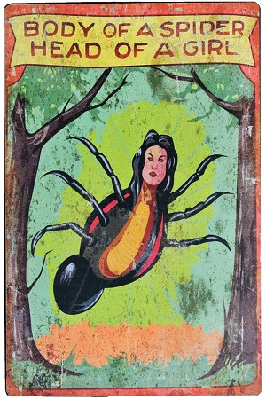Spider Girl Metal Carnival Sign