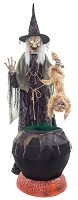 Cat-tastrophie Cauldron Witch Animated Prop with Fog