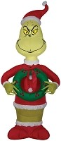 Inflatable Grinch With Wreath- Dr. Seuss