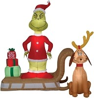 Inflatable Grinch With Max- Dr. Seuss