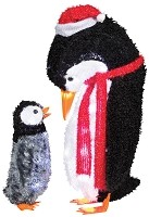 Fuzzy Plush Baby and Mommy Penguin